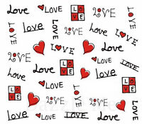 Nail Art Decals Transfer Stickers Hearts Valentines (XF1570)