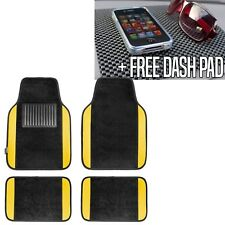 Carpet Floor Mats With Yellow Trim Fit Most Car, Truck, Suv or Van Free Dash Pad