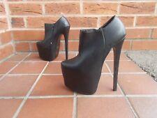 Sexy Negro Mega Zapatos de plataforma/Botines * 4 Reino Unido * Gótico Fetiche Dominatriz NUEVO * *
