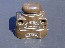 Vintage WESTINGHOUSE Insulator Large Porcelain Two Eye Brown Collectible Heavy
