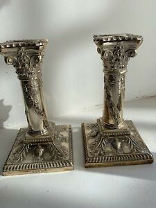 Beautiful Pair Victorian Sterling Silver Candlesticks - Sheffield 1896