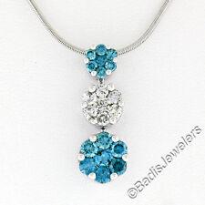 14k ORO BLANCO 1.50ctw Diamante Azul Triple graduado CLUSTER Slide Colgante