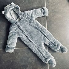 Baby Age 9-12 Mths Grey Faux Fur Bear Pram Suit/all-in-1 RP £20 VGC