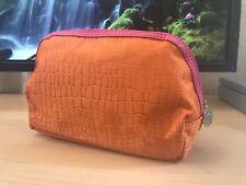 Lancome Orange with Pink Trim Fabric Cosmetic Bag