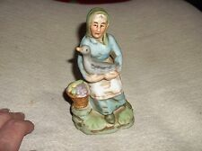 VINTAGE SMALL BISQUE FIGURINE ELDERLY LADY WITH GOOSE AND BASKET OF FRUIT 5.25""