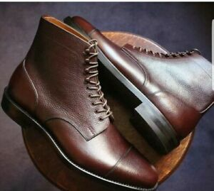 Handmade Men Brown Grain Leather Boots Toe Cap Derby Lace Up High Ankle Boots
