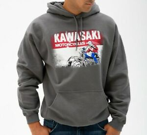 NEW KAWASAKI HERITAGE LOGO OLD SCHOOL SIGN SWEATSHIRT, UNISEX, K000-1294-CHXL