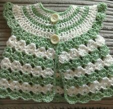 0-3 MONTHS GREEN AND CREAM CAP SLEEVE CARDIGAN BABY GIRL
