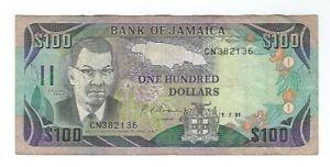 Jamaica - 1991, One Hundred (100) Dollars