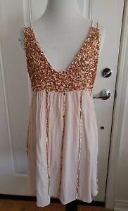 Free People Glitter Rose Gold Sequin Dress Missing Sequins Size M $128 Read Desc