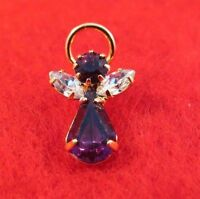 14 KT GOLD EP BIRTHSTONE FEBRUARY AMETHYST  ANGEL LAPEL PIN
