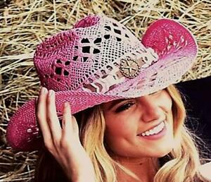 NEW Bullhide MonteCarlo Fuchsia Naughty Girl Toyo Straw Western Cowboy Hat