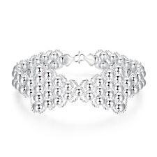 Femme Bracelet chaîne à main Bow Knot Ballon Rond Perles Plaqué Argent de