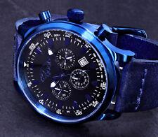 Gooix Herren Armband Uhr Blau Schwarz Chronograph Stoppuhr Edelstahl Leder 10ATM