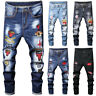Men Skinny jeans Denim Pant Ripped Jeans Frayed Jeans Embroidery Pant Long Pant