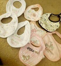 Lot Of 8 Baby Girl Bibs Euc