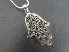 """Balinese 925 Sterling Silver Hamsa/Hand of Fatima pendant with 20"""" chain"""