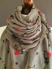OVERSIZE LADIES SOFT LOVELY DOG PRINT FASHION SCARF*BEIGE*BRAND NEW 100% VISCOSE