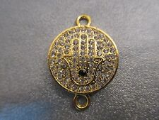 Gold Tone Hamsa Rhinestone Spacer Connector 1pc