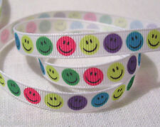 RUBAN GALON GROS GRAIN - ROND FACE SMILEY MULTICOLORE - 10mm au mètre - couture