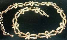 MONET VINTAGE 60'S GOLD PLATED BOW LINK  NECKLACE ESTATE JEWELRY PRETTY