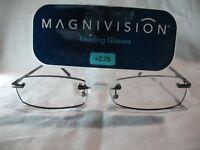 Magnivision Kristin Black Womens Rimless Reading Glasses +1.50 1.75 2.25 2.75