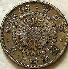 1907 Japan Meiji Year 40 silver 50 Sen  Vf/Ex
