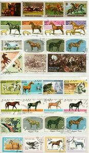 A LOVELY MIX OF 32 DIFFERENT GOOD/FINE USED COMMEMORATIVE STAMPS DEPICTING HORSE
