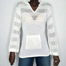 Vintage 1970s Three Feet Off White Bell Sleeve Hoodie Filet Knit Tunic Sweater