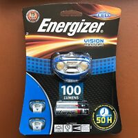 NEW Energizer Vision 100 Lumens Super Bright Headlight LED with 3 AAA Batteries