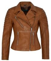 Ladies Emily Real Leather Tan Biker Jacket New Fashion Designer Quilted Stylish