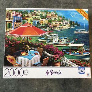 Jigsaw Puzzle 2000 pc Seafront Milton Bradley ~ Artworld Premium Blue Board 🚚💨