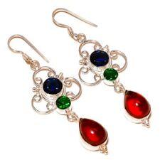Garnet, Emerald, Tanzanite Multi Gemstone silver plated Handmade Drop Earrings