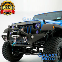 HD Rock Crawler Front Bumper+Winch Plate+2x D-rings fit 07-18 Jeep JK Wrangler