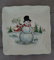(2) Maxcera Christmas Village with Festive Snowmen Salad Plates Holiday Decor