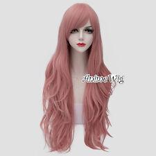 Lolita Milkshake Pink Long 80CM Wavy Fashion Party Cosplay Wig + Wig Cap