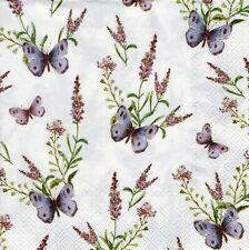 4x PAPER NAPKINS for Decoupage LA LAVANDE CREAM Lavender & Butterfly