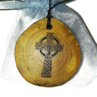 CELTIC CROSS Necklace Wooden Handmade Engraved Charm Pagan Religion  Pendant
