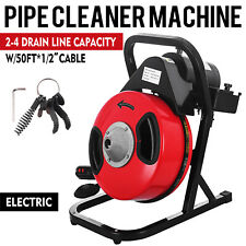 50ft x 1/2'' Drain Auger Cleaner Machine Electric Snake Sewer Clog W/ 5 Cutter