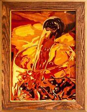 Verre à vin nature morte marqueterie bois mur art décoration murale en bois...
