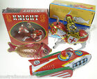 TIN TOY COLLECTION CLOCKWORK RETRO VINTAGE STYLE KNIGHT ROCKET RACER & FISH