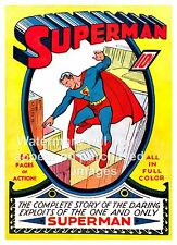 Superman, Vintage Comic book cover poster reproduction.