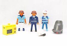 Playmobil figures x 3-vintage play mobil figures + accessoires bundle-gc