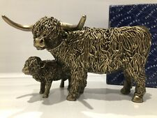 More details for shudehill bronzed highland coo cow wee calf scottish farm gift figurine ornament