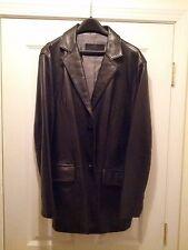 Men's RARE Kenneth Cole New York Black Leather Jacket / Suit Blazer Size XL