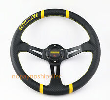 350mm Universal Gold PVC Yellow Stitch JDM Deep Dish Drift Racing Steering Wheel