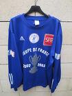 VINTAGE Maillot COUPE DE FRANCE porté n°5 bleu ADIDAS 2003 match worn shirt XL