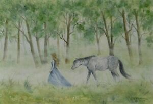 horse painting pony lady watercolour original mist fantasy forest animal surreal
