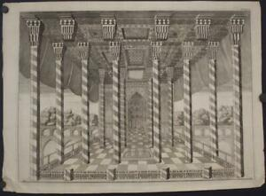 IRAN PERSIAN ROYAL PALACE 1720 ANONYMOUS UNUSUAL ANTIQUE COPPER ENGRAVED VIEW