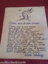 AUTOGRAPHE - 030717- Poême de Gilbert DELAHAYE - Exces de mon ivresse. Martine